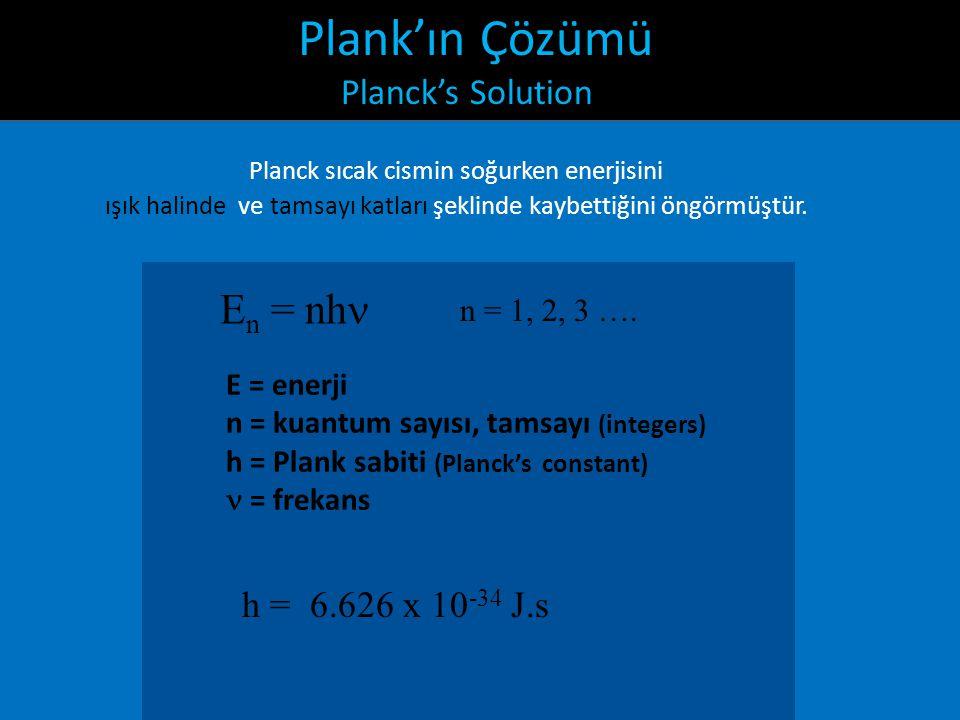 Plank'ın Çözümü Planck's Solution Planck sıcak cismin soğurken enerjisini ışık halinde ve tamsayı katları şeklinde kaybettiğini öngörmüştür. E n = nh