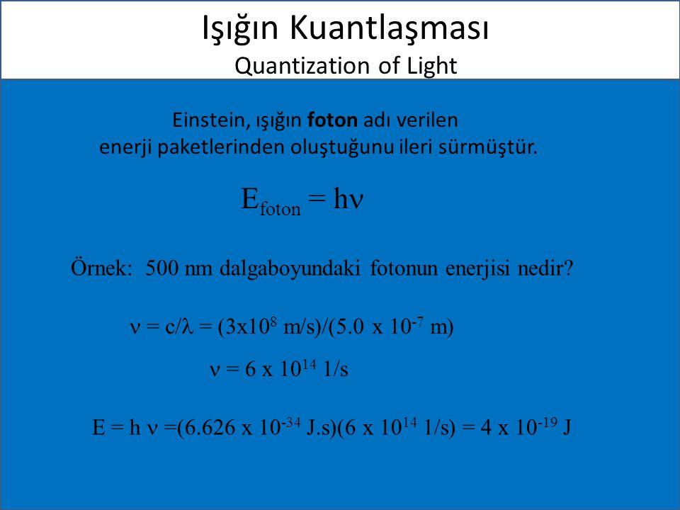 Işığın Kuantlaşması Quantization of Light Einstein, ışığın foton adı verilen enerji paketlerinden oluştuğunu ileri sürmüştür. E foton = h Örnek: 500 n