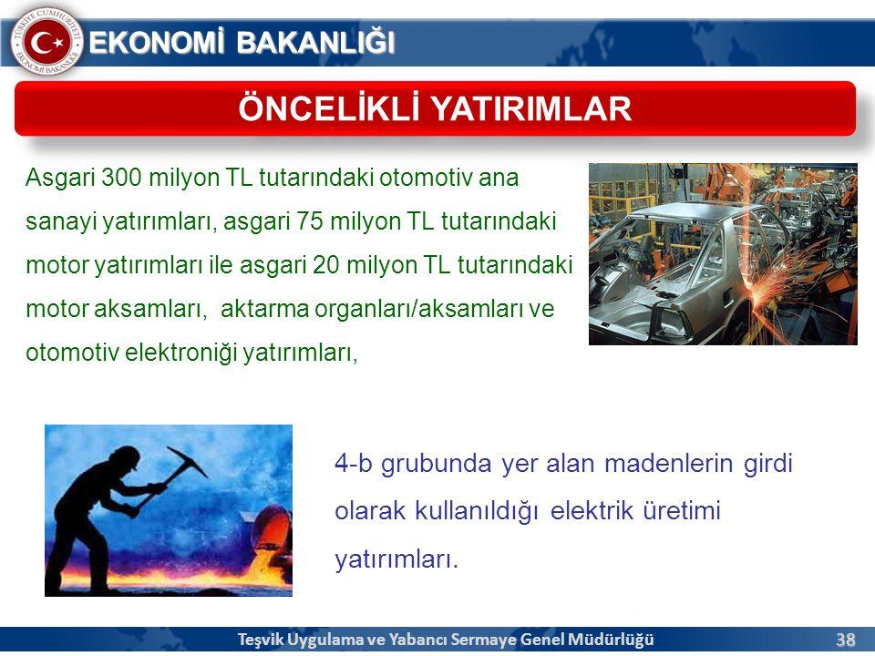 38 EKONOMİ BAKANLIĞI ÖNCELİKLİ YATIRIMLAR Teşvik Uygulama ve Yabancı Sermaye Genel Müdürlüğü Asgari 300 milyon TL tutarındaki otomotiv ana sanayi yatı