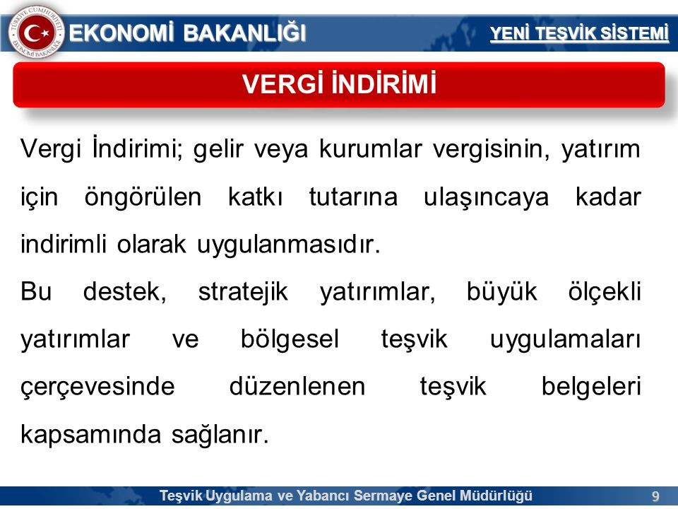 80 EKONOMİ BAKANLIĞI KOBİ TANIMI Teşvik Uygulama ve Yabancı Sermaye Genel Müdürlüğü Yürürlükte Bulunan KOBİ Tanımı Yeni Teşvik Sistemi Tanımı 250 kişiden az yıllık çalışan istihdam eden, Yıllık net satış hasılatı veya mali bilançosu değeri 25 milyon Türk Lirasını aşmayan İşletmeler Ortaklık yapısındaki bir veya birden fazla tüzel kişinin veya kamu kurum ve kuruluşunun hisseleri toplamı %25 veya daha fazla olmayan, Başka bir işletmenin %25 veya daha fazlasına sahip olmayan, Çalışan sayısı yıllık 250 kişiden az olan, Yıllık net satış hasılatı 50 milyon Avro ve mali bilançosu değeri 43 milyon Avro karşılığı Türk Lirasını aşmayan İşletmeler