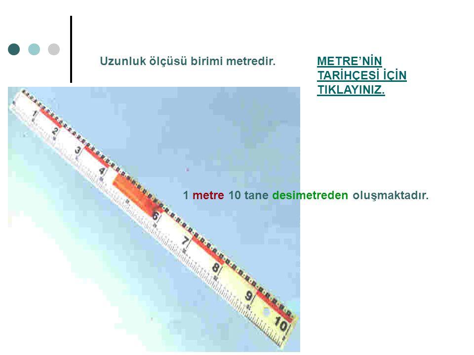 METRE'NİN TARİHÇESİ İÇİN TIKLAYINIZ. 1 metre 10 tane desimetreden oluşmaktadır. Uzunluk ölçüsü birimi metredir.