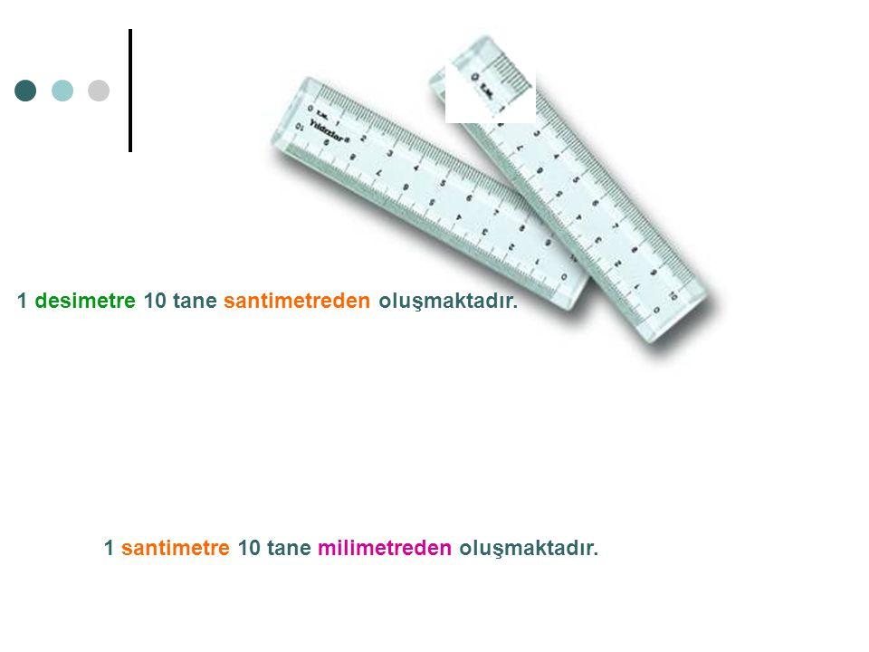1 desimetre 10 tane santimetreden oluşmaktadır. 1 santimetre 10 tane milimetreden oluşmaktadır.