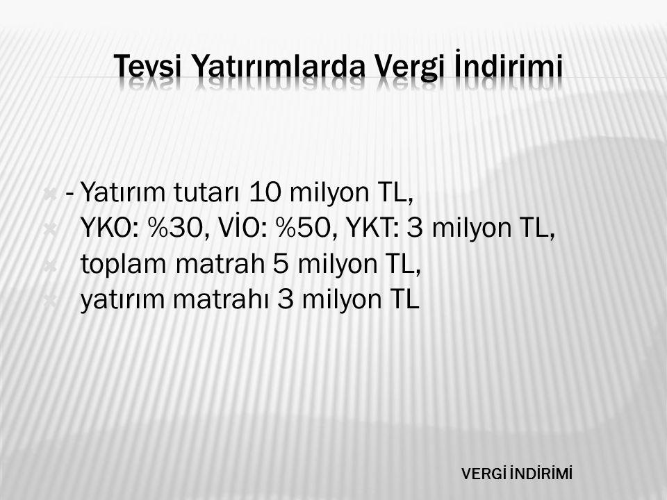  - Yatırım tutarı 10 milyon TL,  YKO: %30, VİO: %50, YKT: 3 milyon TL,  toplam matrah 5 milyon TL,  yatırım matrahı 3 milyon TL VERGİ İNDİRİMİ