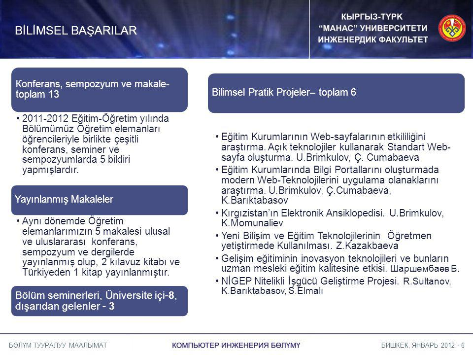 БИШКЕК, ЯНВАРЬ 2012 - 6БӨЛҮМ ТУУРАЛУУ МААЛЫМАТ BİLİMSEL BAŞARILAR Кonferans, sempozyum ve makale- toplam 13 2011-2012 Eğitim-Öğretim yılında Bölümümüz