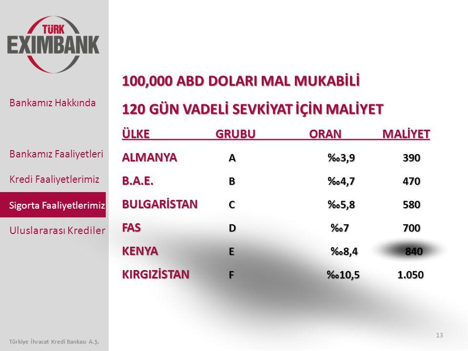 13 Bankamız Faaliyetleri Kredi Faaliyetlerimiz Sigorta Faaliyetlerimiz Uluslararası Krediler Bankamız Hakkında Türkiye İhracat Kredi Bankası A.Ş. 100,