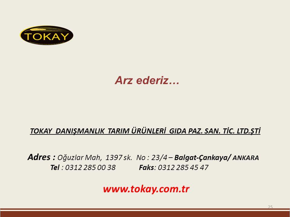 25 Arz ederiz… Adres : Oğuzlar Mah, 1397 sk. No : 23/4 – Balgat-Çankaya/ ANKARA Tel : 0312 285 00 38 Faks: 0312 285 45 47 www.tokay.com.tr TOKAY DANIŞ