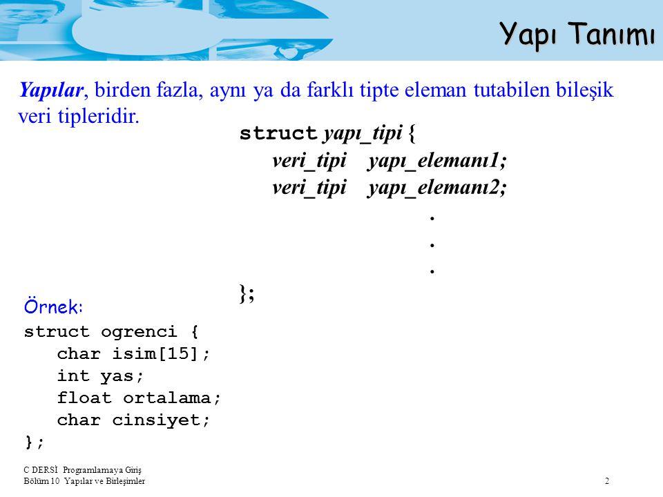 C DERSİ Programlamaya Giriş Bölüm 10 Yapılar ve Birleşimler 2 Yapı Tanımı struct yapı_tipi { veri_tipi yapı_elemanı1; veri_tipi yapı_elemanı2;. }; str