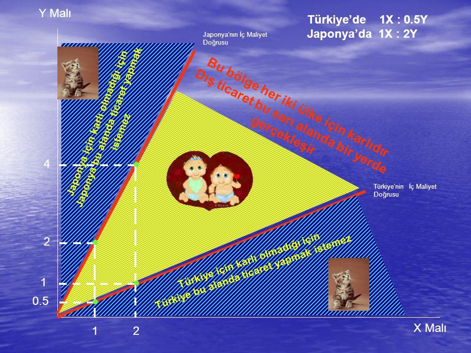 Y Malı X Malı Türkiye'nin İç Maliyet Doğrusu Türkiye için karlı olmadığı için Türkiye bu alanda ticaret yapmak istemez J a p o n y a i ç i n k a r l ı