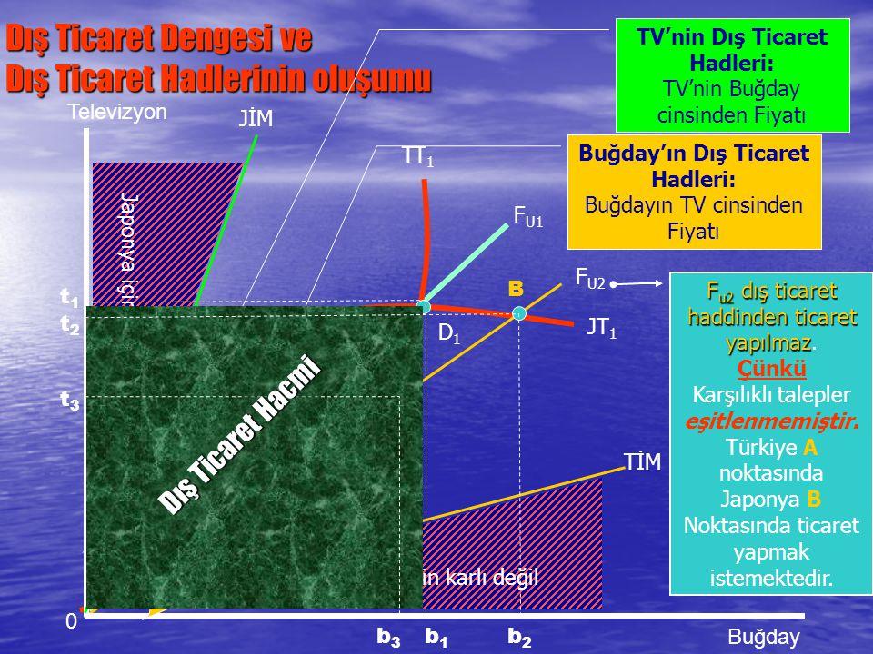 Dış Ticaret Dengesi ve Dış Ticaret Hadlerinin oluşumu 0 Televizyon Buğday t1t1 JİM A B TİM Türkiye için karlı değil Japonya için karlı değil TT 1 JT 1