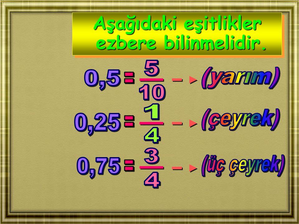 Aşağıdaki eşitlikler ezbere bilinmelidir. Aşağıdaki eşitlikler ezbere bilinmelidir.