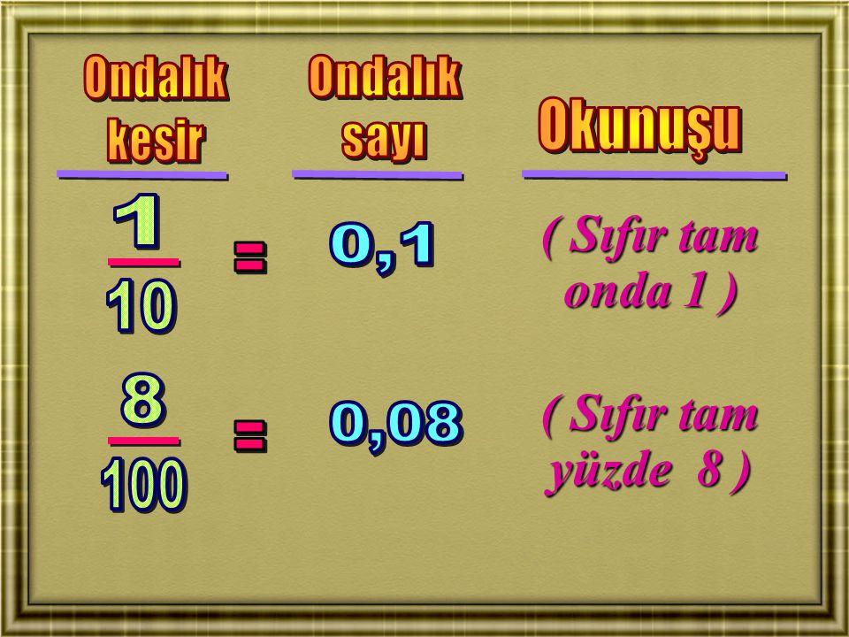 ( Sıfır tam onda 1 ) ( Sıfır tam yüzde 8 )