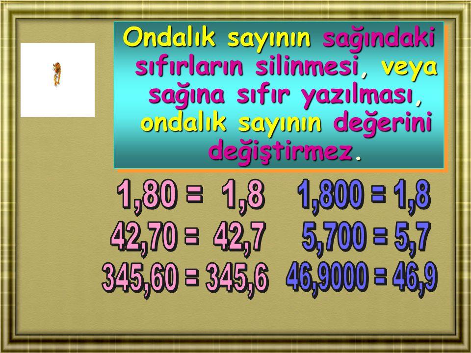 Ondalık sayının sağındaki sıfırların silinmesi, veya sağına sıfır yazılması, ondalık sayının değerini değiştirmez. Ondalık sayının sağındaki sıfırları