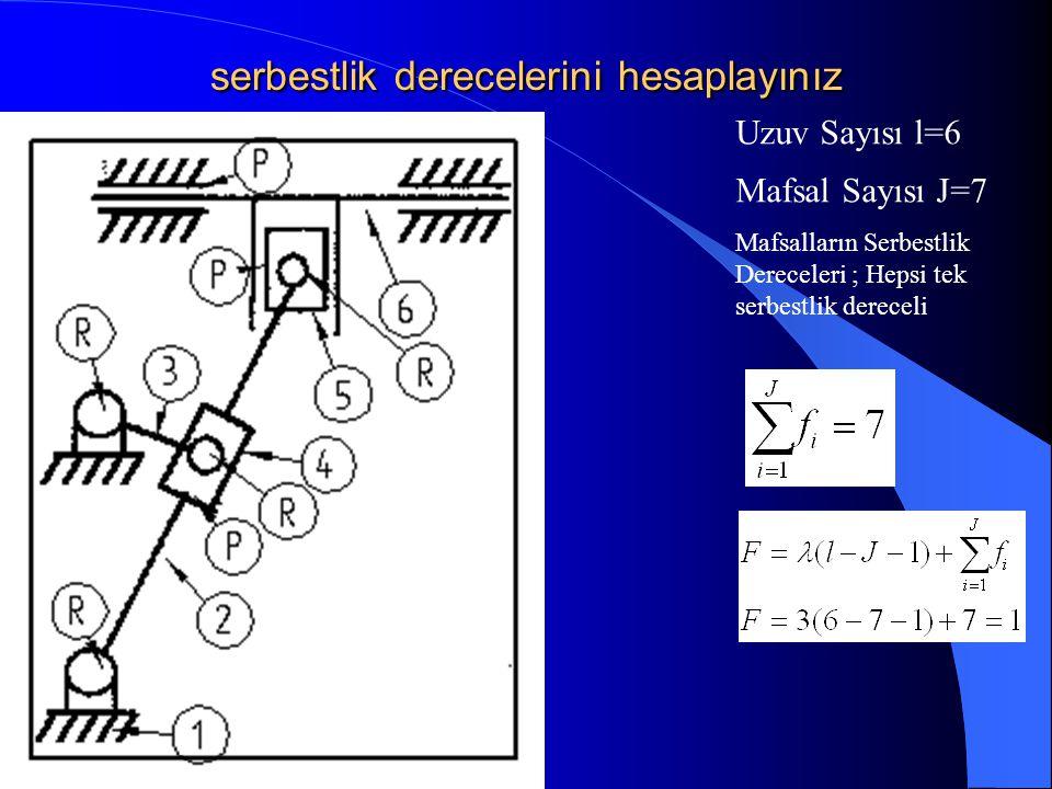 serbestlik derecelerini hesaplayınız Mafsal Sayısı J=7 Uzuv Sayısı l=6 Mafsalların Serbestlik Dereceleri ; Hepsi tek serbestlik dereceli
