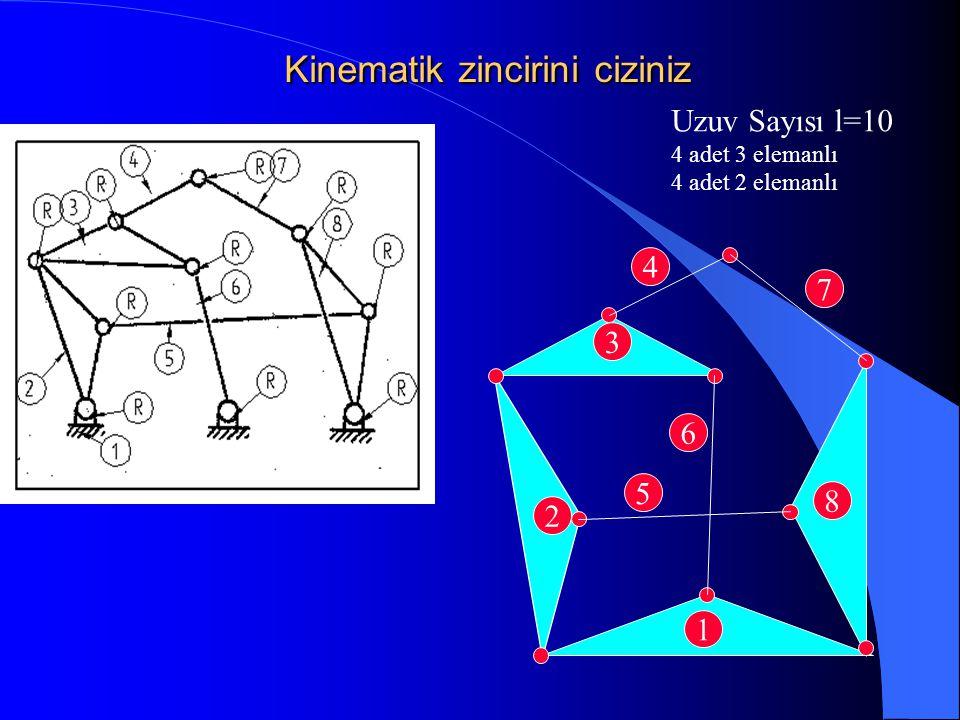 Uzuv Sayısı l=10 4 adet 3 elemanlı 4 adet 2 elemanlı 1 2 3 6 8 5 4 7 Kinematik zincirini ciziniz