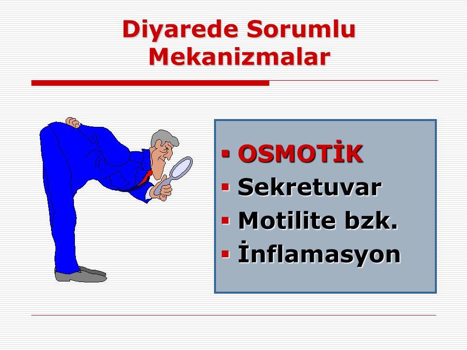 Diyarede Sorumlu Mekanizmalar  OSMOTİK  Sekretuvar  Motilite bzk.  İnflamasyon