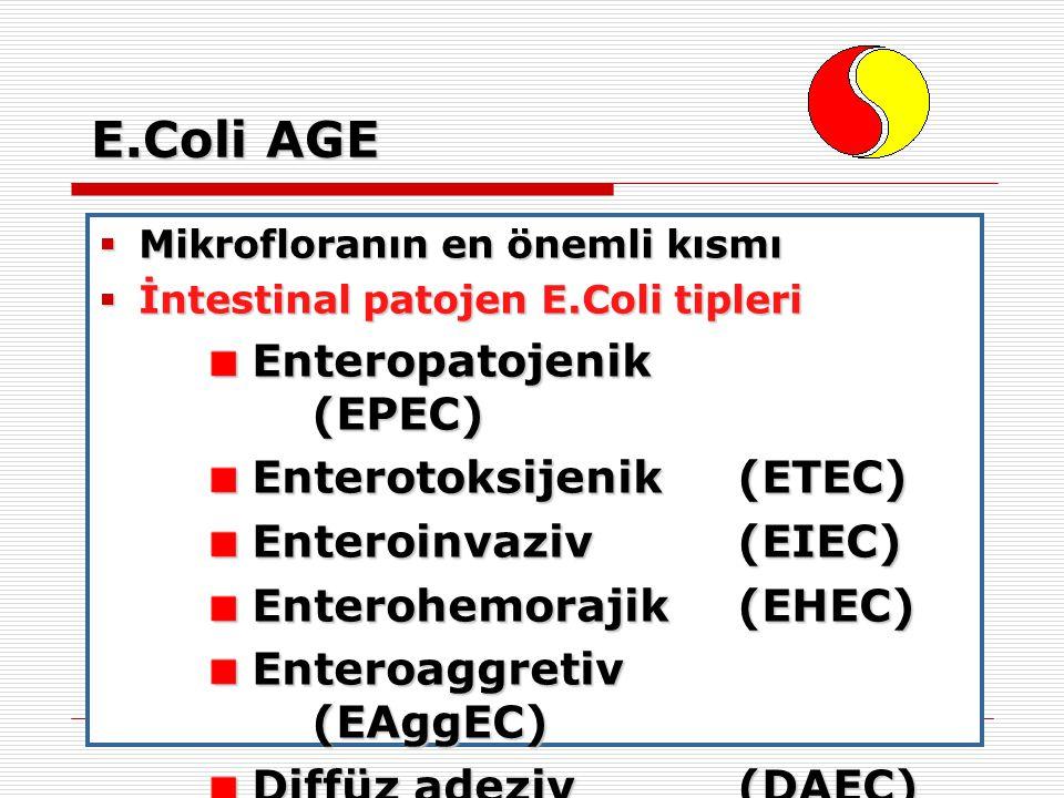 E.Coli AGE  Mikrofloranın en önemli kısmı  İntestinal patojen E.Coli tipleri Enteropatojenik (EPEC) Enteropatojenik (EPEC) Enterotoksijenik (ETEC) E