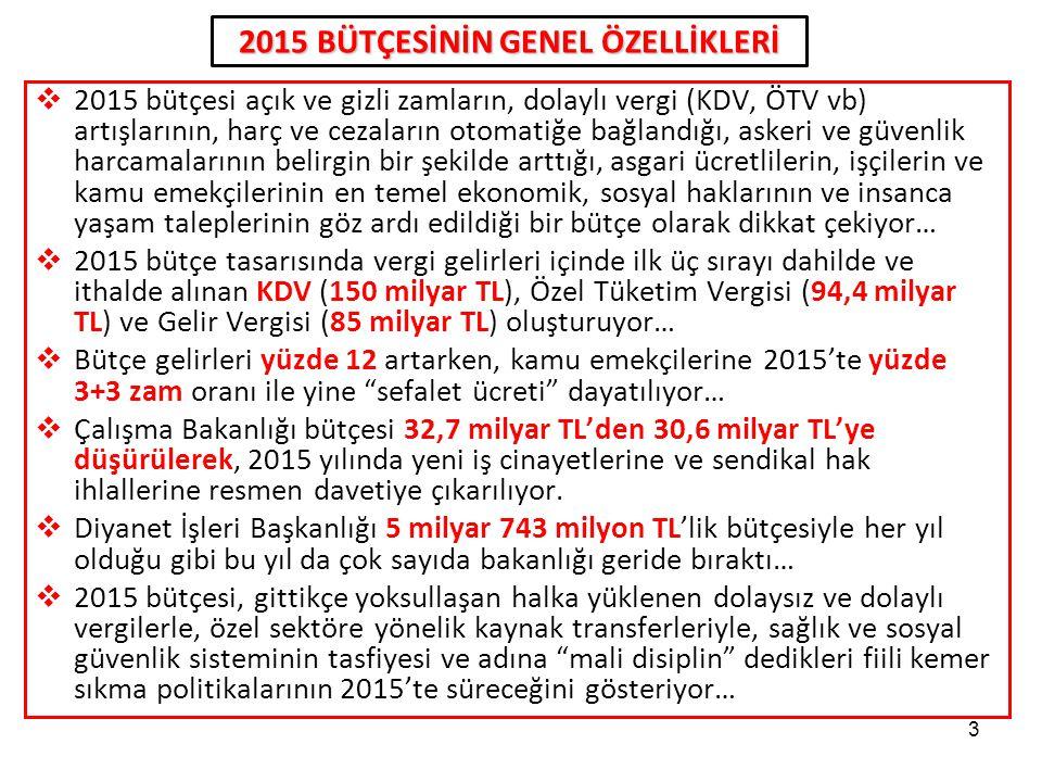 3  2015 bütçesi açık ve gizli zamların, dolaylı vergi (KDV, ÖTV vb) artışlarının, harç ve cezaların otomatiğe bağlandığı, askeri ve güvenlik harcamal