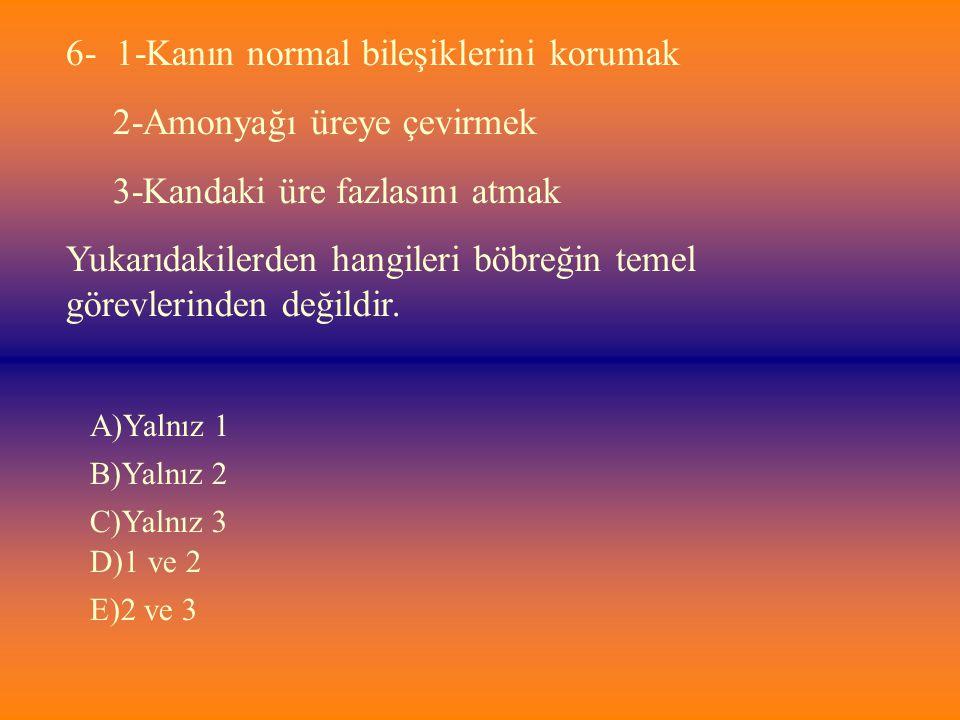 6- 1-Kanın normal bileşiklerini korumak 2-Amonyağı üreye çevirmek 3-Kandaki üre fazlasını atmak Yukarıdakilerden hangileri böbreğin temel görevlerinde