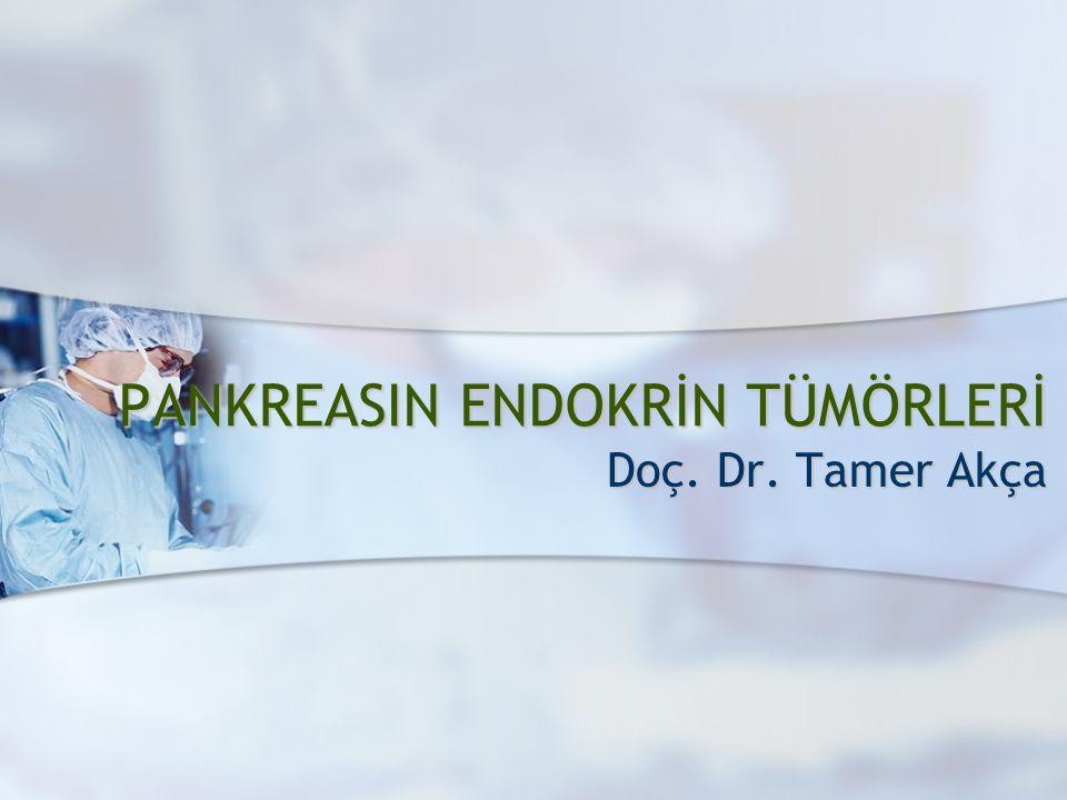 Pankreasın Nöroendokrin Tümörleri 2 PANKREASIN ADACIK HÜCRE TÜMÖRLERİ (ENDOKRİN TÜMÖRLERİ) nadir; 1/100.000 nadir; 1/100.000 otopsi serilerinde; %1 otopsi serilerinde; %1 nonfonksiyonel tümörler nonfonksiyonel tümörler fonksiyonel tümörler (>%50) fonksiyonel tümörler (>%50)