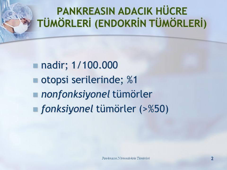 Pankreasın Nöroendokrin Tümörleri 3 malignite; <%50 malignite; <%50 insülinomada; %10 insülinomada; %10 glukagonoma ve somatostatinomada: ~%100 glukagonoma ve somatostatinomada: ~%100 ölçüt ölçüt genelde metastaz varlığı genelde metastaz varlığı >2 cm.den büyük tümörler >2 cm.den büyük tümörler