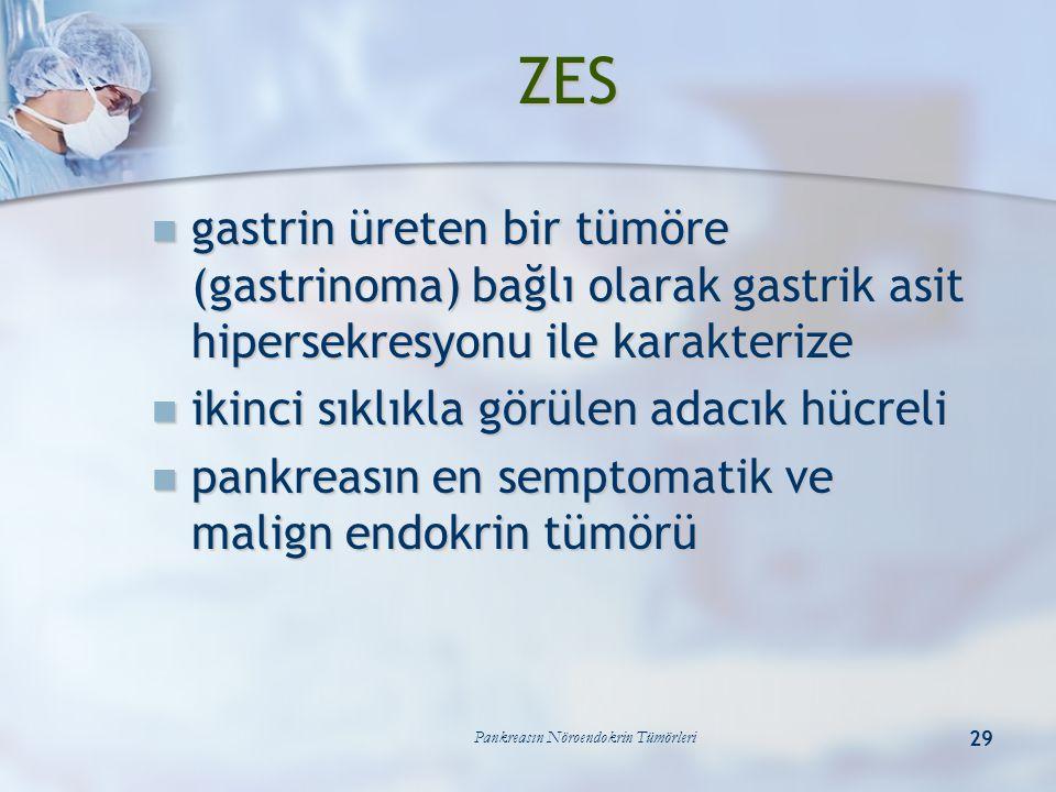 Pankreasın Nöroendokrin Tümörleri 29 ZES gastrin üreten bir tümöre (gastrinoma) bağlı olarak gastrik asit hipersekresyonu ile karakterize gastrin üret