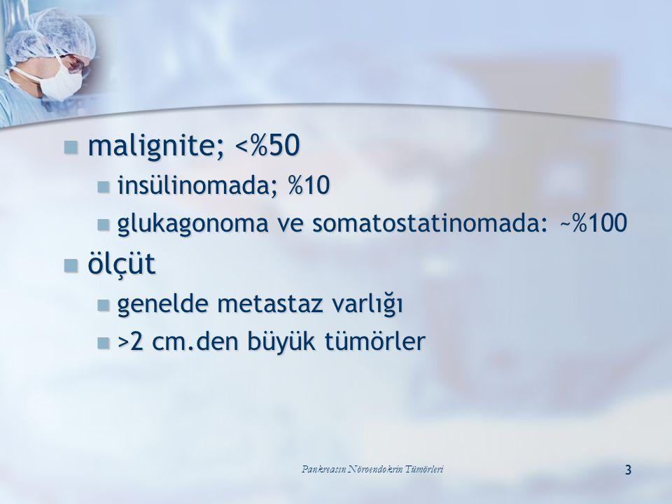 Pankreasın Nöroendokrin Tümörleri 3 malignite; <%50 malignite; <%50 insülinomada; %10 insülinomada; %10 glukagonoma ve somatostatinomada: ~%100 glukag