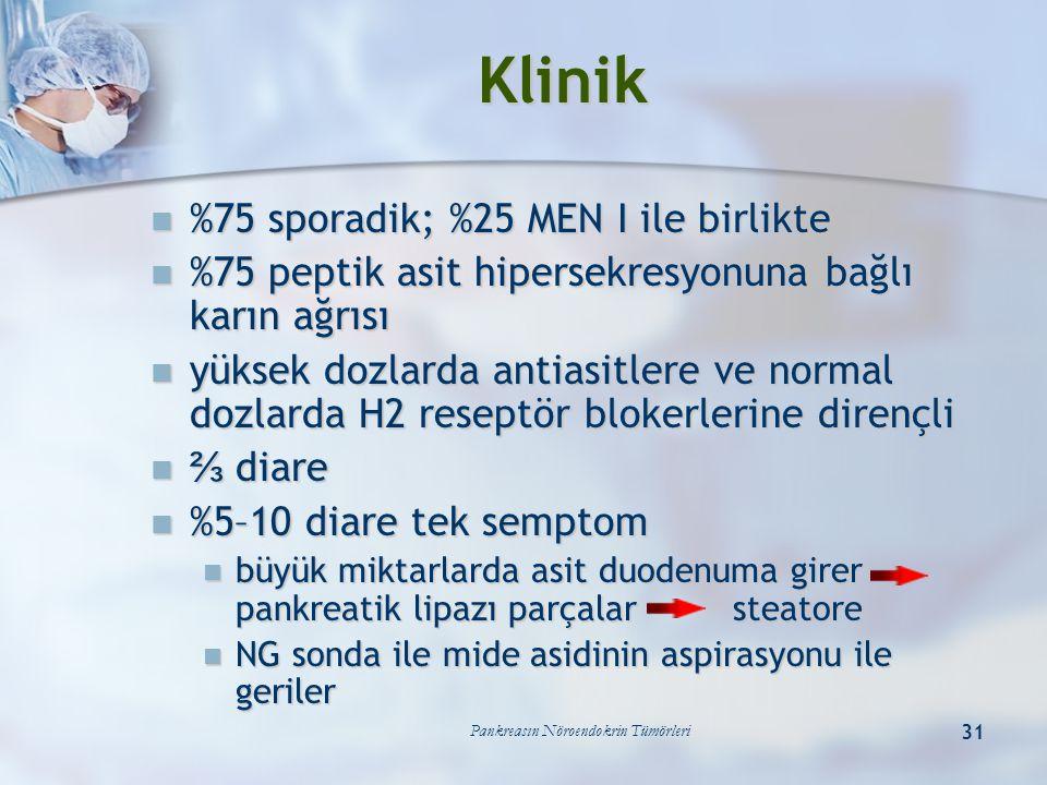 Pankreasın Nöroendokrin Tümörleri 31 Klinik %75 sporadik; %25 MEN I ile birlikte %75 sporadik; %25 MEN I ile birlikte %75 peptik asit hipersekresyonun