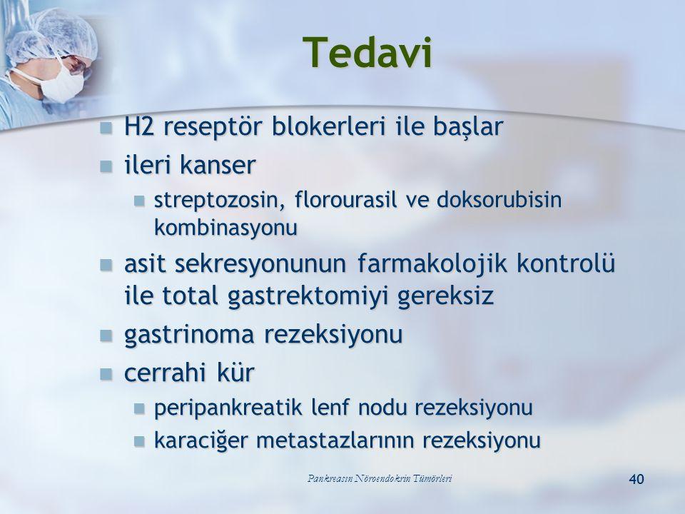 Pankreasın Nöroendokrin Tümörleri 40 Tedavi H2 reseptör blokerleri ile başlar H2 reseptör blokerleri ile başlar ileri kanser ileri kanser streptozosin