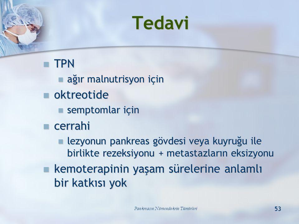 Pankreasın Nöroendokrin Tümörleri 53 Tedavi TPN TPN ağır malnutrisyon için ağır malnutrisyon için oktreotide oktreotide semptomlar için semptomlar içi