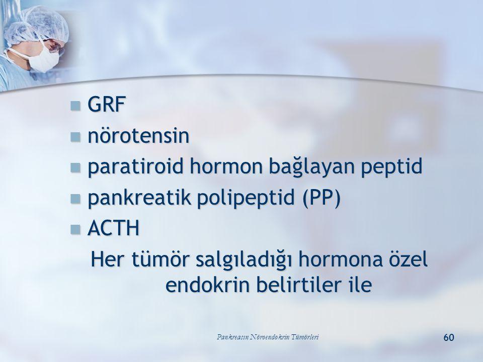 Pankreasın Nöroendokrin Tümörleri 60 GRF GRF nörotensin nörotensin paratiroid hormon bağlayan peptid paratiroid hormon bağlayan peptid pankreatik poli