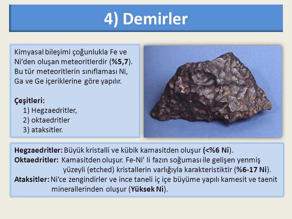 4) Demirler Kimyasal bileşimi çoğunlukla Fe ve Ni'den oluşan meteoritlerdir (%5,7). Bu tür meteoritlerin sınıflaması Ni, Ga ve Ge içeriklerine göre ya