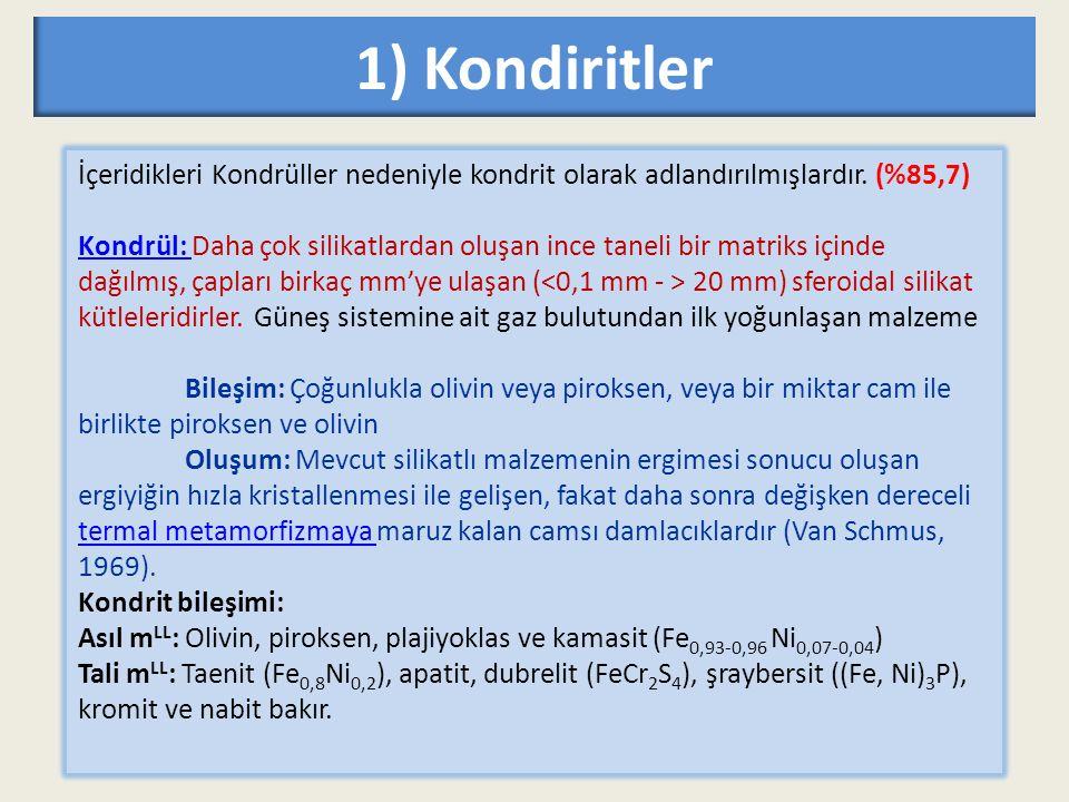 1) Kondiritler İçeridikleri Kondrüller nedeniyle kondrit olarak adlandırılmışlardır. (%85,7) Kondrül: Kondrül: Daha çok silikatlardan oluşan ince tane