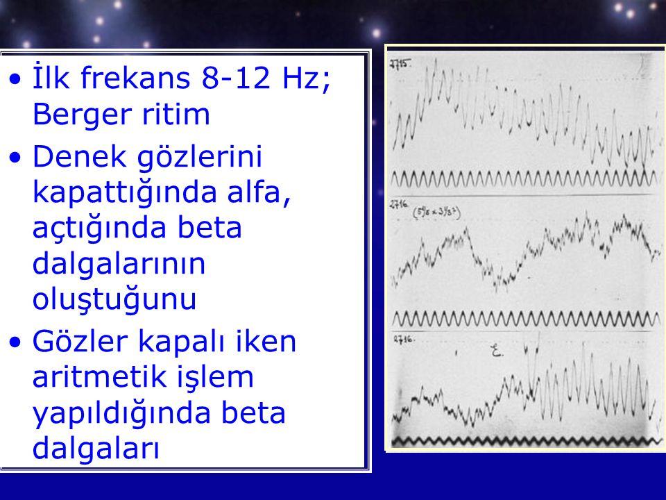 İlk frekans 8-12 Hz; Berger ritim Denek gözlerini kapattığında alfa, açtığında beta dalgalarının oluştuğunu Gözler kapalı iken aritmetik işlem yapıldığında beta dalgaları