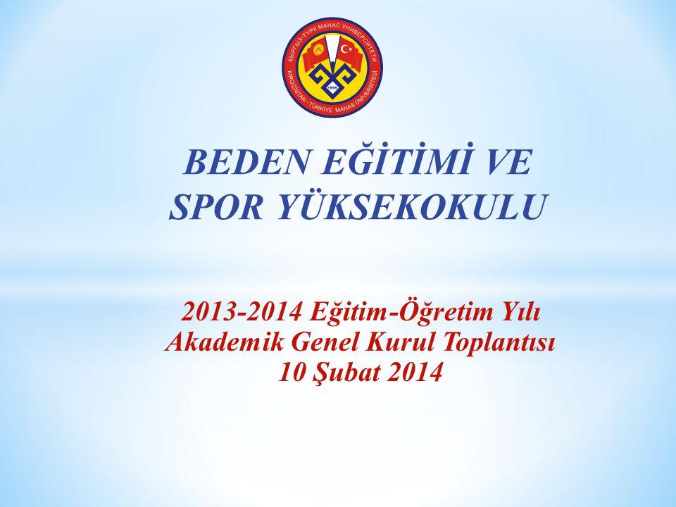 2013-2014 Eğitim-Öğretim Yılı Akademik Genel Kurul Toplantısı 10 Şubat 2014 BEDEN EĞİTİMİ VE SPOR YÜKSEKOKULU