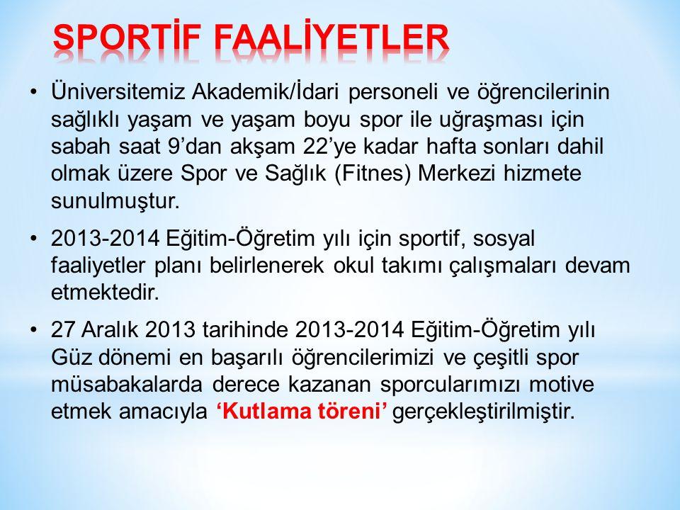 Üniversitemiz Akademik/İdari personeli ve öğrencilerinin sağlıklı yaşam ve yaşam boyu spor ile uğraşması için sabah saat 9'dan akşam 22'ye kadar hafta sonları dahil olmak üzere Spor ve Sağlık (Fitnes) Merkezi hizmete sunulmuştur.