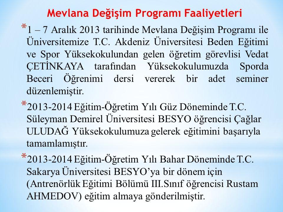 Mevlana Değişim Programı Faaliyetleri * 1 – 7 Aralık 2013 tarihinde Mevlana Değişim Programı ile Üniversitemize T.C.