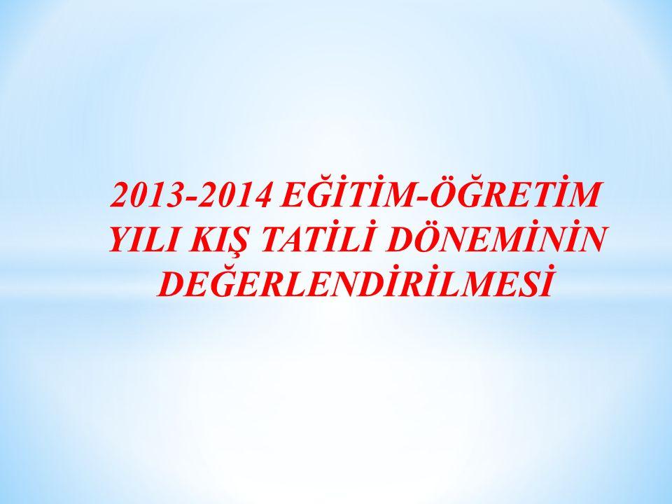 2013-2014 EĞİTİM-ÖĞRETİM YILI KIŞ TATİLİ DÖNEMİNİN DEĞERLENDİRİLMESİ