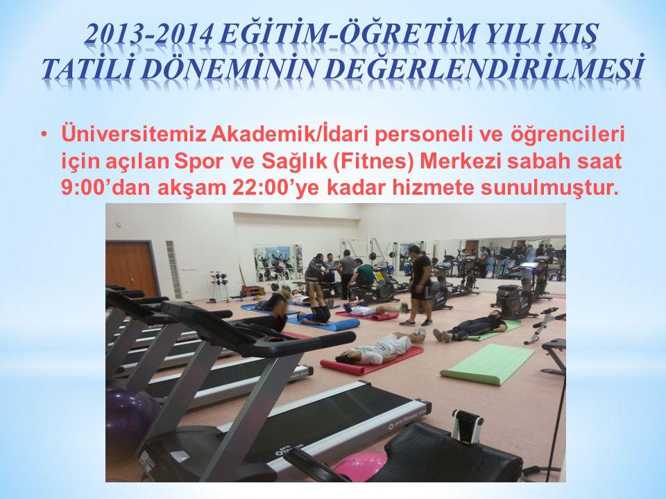 Üniversitemiz Akademik/İdari personeli ve öğrencileri için açılan Spor ve Sağlık (Fitnes) Merkezi sabah saat 9:00'dan akşam 22:00'ye kadar hizmete sunulmuştur.