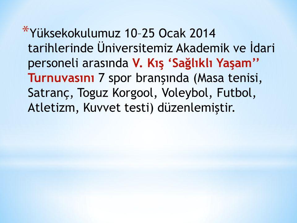 * Yüksekokulumuz 10–25 Ocak 2014 tarihlerinde Üniversitemiz Akademik ve İdari personeli arasında V.
