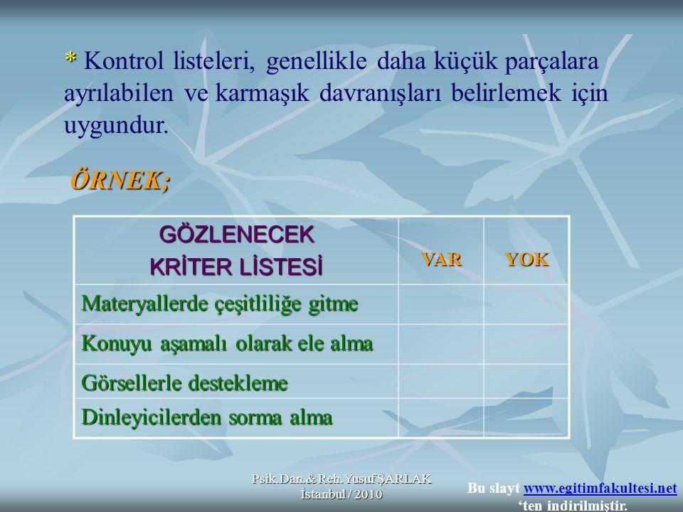 Psik.Dan.& Reh.Yusuf ŞARLAK İstanbul / 2010 GÖZLENECEK KRİTER LİSTESİ VARYOK Materyallerde çeşitliliğe gitme Konuyu aşamalı olarak ele alma Görsellerl