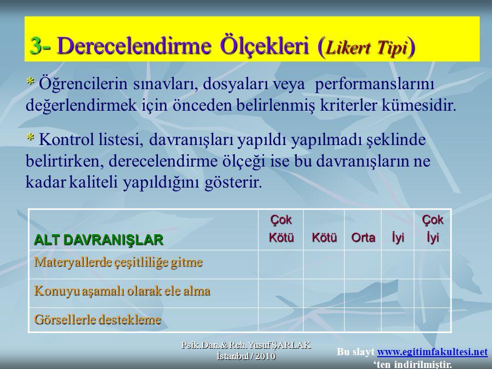Psik.Dan.& Reh.Yusuf ŞARLAK İstanbul / 2010 * * Öğrencilerin sınavları, dosyaları veya performanslarını değerlendirmek için önceden belirlenmiş kriter