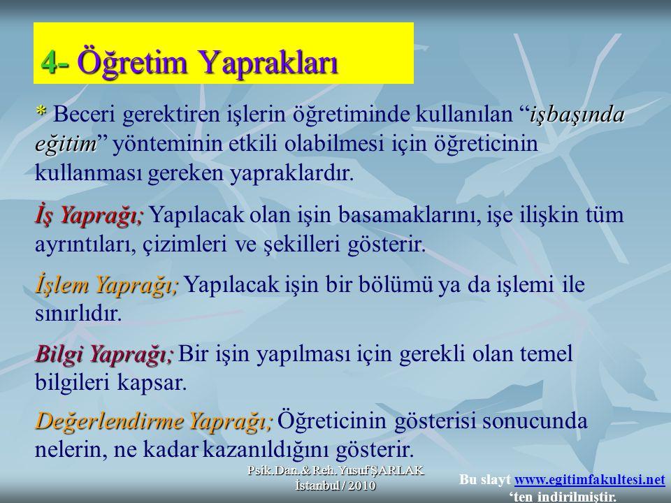 """Psik.Dan.& Reh.Yusuf ŞARLAK İstanbul / 2010 *işbaşında eğitim * Beceri gerektiren işlerin öğretiminde kullanılan """"işbaşında eğitim"""" yönteminin etkili"""