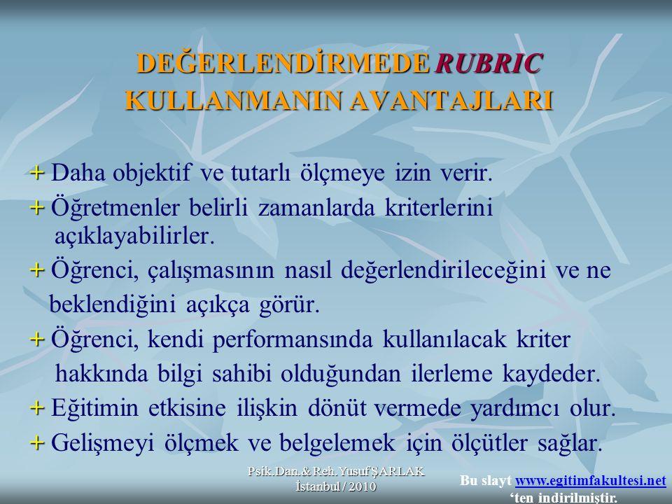 Psik.Dan.& Reh.Yusuf ŞARLAK İstanbul / 2010 DEĞERLENDİRMEDE RUBRIC KULLANMANIN AVANTAJLARI + + Daha objektif ve tutarlı ölçmeye izin verir. + + Öğretm