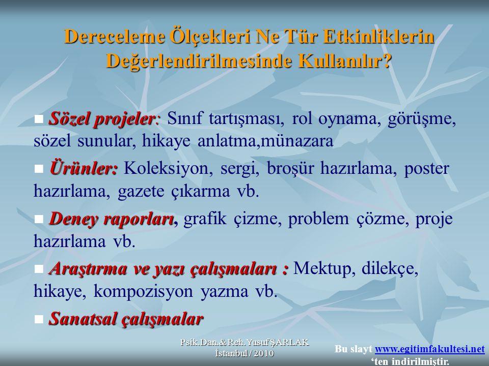 Psik.Dan.& Reh.Yusuf ŞARLAK İstanbul / 2010 Dereceleme Ölçekleri Ne Tür Etkinliklerin Değerlendirilmesinde Kullanılır? Sözel projeler: Sözel projeler: