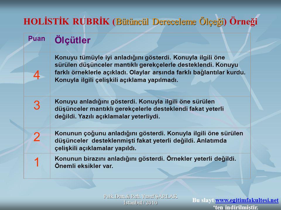 Psik.Dan.& Reh.Yusuf ŞARLAK İstanbul / 2010 Bütüncül Dereceleme Ölçeği HOLİSTİK RUBRİK (Bütüncül Dereceleme Ölçeği) Örneği Puan Ölçütler 4 Konuyu tümü