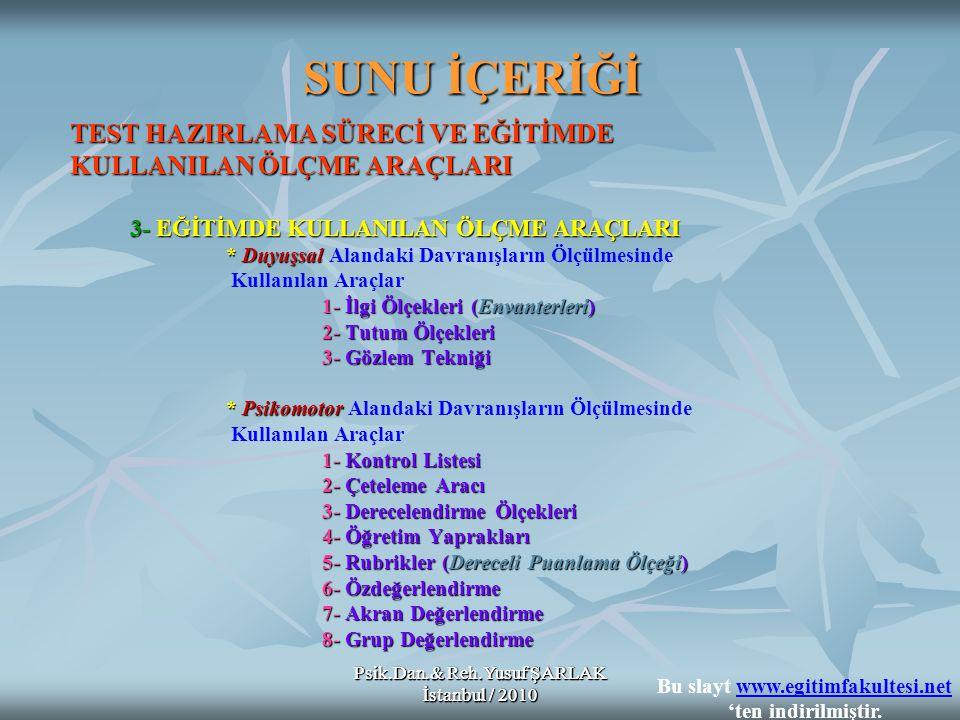 Psik.Dan.& Reh.Yusuf ŞARLAK İstanbul / 2010 SUNU İÇERİĞİ TEST HAZIRLAMA SÜRECİ VE EĞİTİMDE KULLANILAN ÖLÇME ARAÇLARI 3- EĞİTİMDE KULLANILAN ÖLÇME ARAÇ