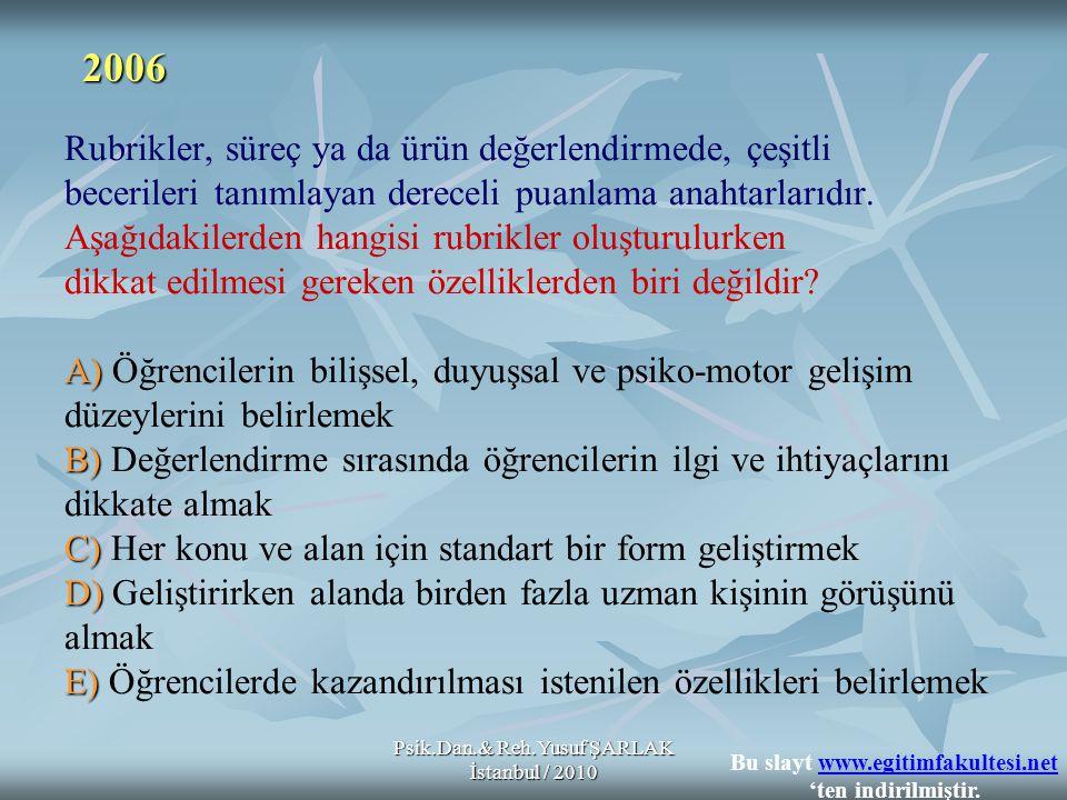 Psik.Dan.& Reh.Yusuf ŞARLAK İstanbul / 2010 A) B) C) D) E) Rubrikler, süreç ya da ürün değerlendirmede, çeşitli becerileri tanımlayan dereceli puanlam