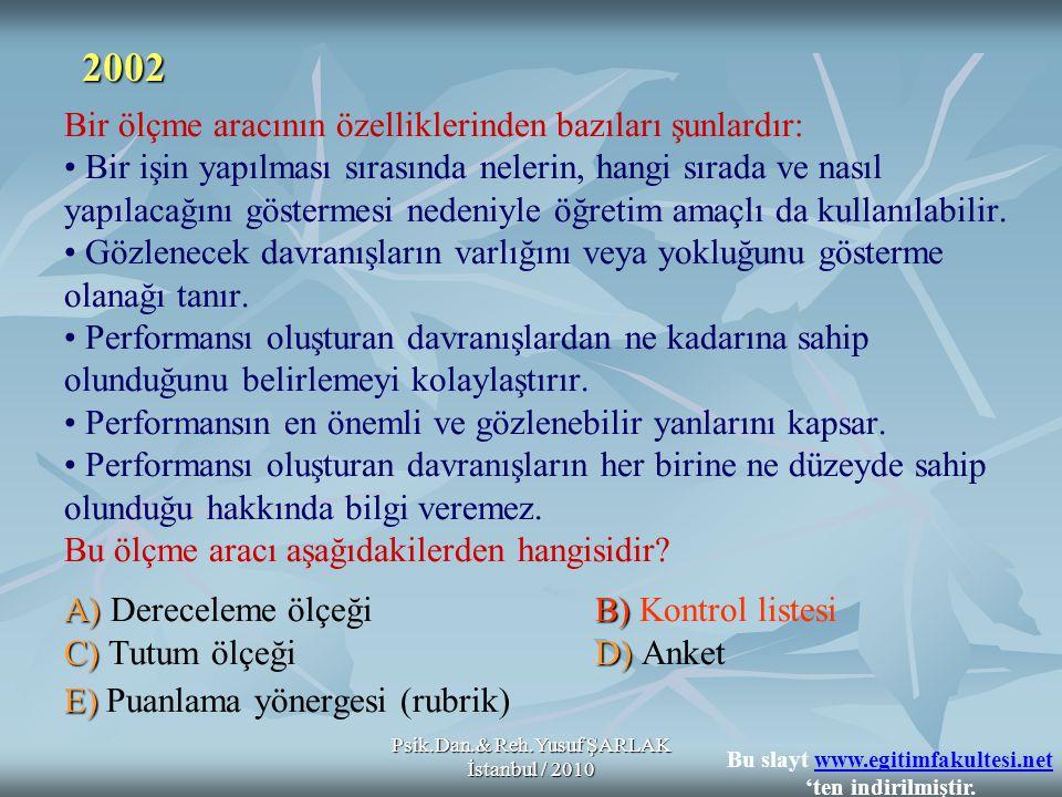 Psik.Dan.& Reh.Yusuf ŞARLAK İstanbul / 2010 A)B) C)D) E) Bir ölçme aracının özelliklerinden bazıları şunlardır: Bir işin yapılması sırasında nelerin,