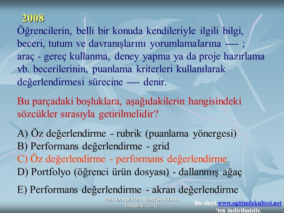 Psik.Dan.& Reh.Yusuf ŞARLAK İstanbul / 2010 Öğrencilerin, belli bir konuda kendileriyle ilgili bilgi, beceri, tutum ve davranışlarını yorumlamalarına