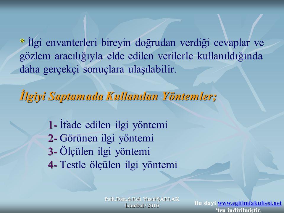 Psik.Dan.& Reh.Yusuf ŞARLAK İstanbul / 2010 * İlgiyi Saptamada Kullanılan Yöntemler; 1- 2- 3- 4- * İlgi envanterleri bireyin doğrudan verdiği cevaplar